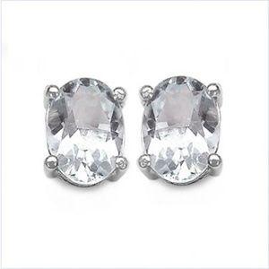 Elite Sterling Silver 1.30 CTW WhiteTopaz Earrings